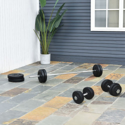 HOMCOM Conjunto de pesos de halteres e barras ajustáveis 2 em 1 com discos para musculação e fitness preto