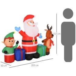 HOMCOM Decoração de natal inflável de 2 m de Papai Noel, Elfos e Renas com luzes LED