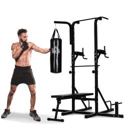 HOMCOM Estação de Musculação Dip com Banco de Pesos Reclinável Saco de Boxe e Barra de Elevação Torre de Treinamento Fitness 180x183x219cm Preto