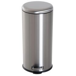HOMCOM Lixeira com abertura por pedal com 30 L de volume em prata de aço inoxidável