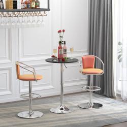 HOMCOM Mesa de bar ajustável em altura com base redonda e antideslizante para cozinha sala de jantar Ø60x69-93 cm Preto