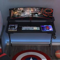 HOMCOM Mesa gaming para jogos secretária com suporte para monitor e fones de ouvido 140x60x90 cm Preto