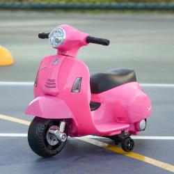 HOMCOM Mota elétrica para crianças acima de 18 meses com licença faróis buzina e 4 rodas 66,5x38x52 cm Rosa
