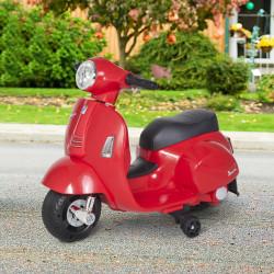 HOMCOM Mota elétrica para crianças com licença acima de 18 meses com faróis buzina e 4 rodas licenciadas 66,5x38x52 cm Vermelho