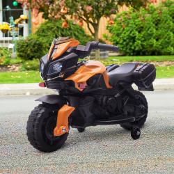 HOMCOM Moto Elétrica para Crianças a partir de 18 Meses 6V com Faróis Buzina 2 Rodas de Equilibrio Velocidade Máx. de 3km/h Motocicleta de Brinquedo 88,5x42,5x49cm Laranja