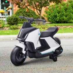 HOMCOM Motocicleta elétrica infantil com bateria de 6V para crianças de 2 a 4 anos com faróis musicais e 2 rodas de equilíbrio 80x39.5x51 cm Branco