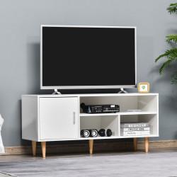 """HOMCOM Móvel de TV para Televisores de até 60"""" Móvel de Sala de Estar Moderno com Armário 3 Compartimentos 120x40x55cm Branco"""