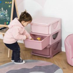 HOMCOM organizador de brinquedos Infantil para crianças acima de 3 anos com 3 Gavetas e Alças amplo espaço de armazenamento para Brinquedos Roupas Livros 37x37x56,5 cm Rosa