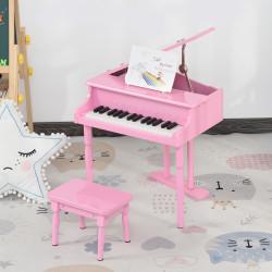 HOMCOM Piano de Cauda Infantil com 30 Teclas Banco Suporte de Partituras Piano para Crianças de MDF Instrumento Musical Educativo 52x50x49cm Rosa