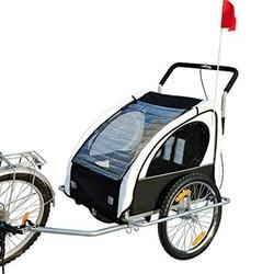 HomCom Reboque para Bicicleta Branco e Preto Aço Oxford 122 x 90 x 106 cm