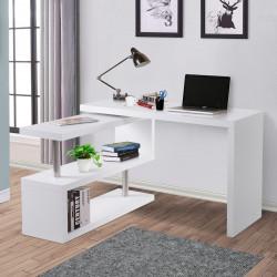 HOMCOM Secretária em forma de L com canto giratório de 360º e prateleiras para escritório 114x120x76,1 cm Branco