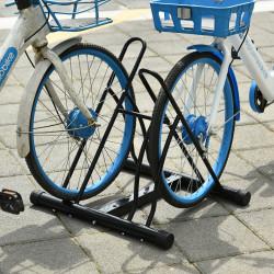 HOMCOM Suporte de Estacionamento para 2 Bicicletas Aço Portátil 60x54x57 cm Preto
