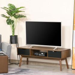 """HOMCOM Suporte de TV para TV de 50 """"com 2 gavetas e compartimento aberto Estilo Moderno 122x39x46 cm Marrom"""