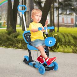 HOMCOM trotinete 5 em 1 para crianças de acima de1 ano trotinete de 3 rodas com assento removível guiador ajustável 62x25x72,5 cm azul