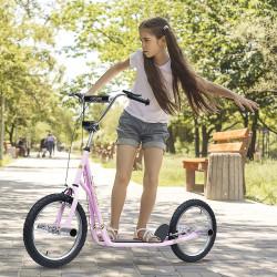 HOMCOM Trotinete para Crianças acima de 5 anos Scooter de 2 Rodas Grandes Insufláveis de 16 Polegadas com Freios e Guidão Ajustável em Altura 143x58x92-100cm Rosa
