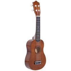 HOMCOM Ukelele 21 Polegada Ukelele Soprano de Iniciação para Iniciantes Ukelele Concerto Hawaiian Cordas Aquila Nylon Material Madeira