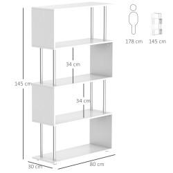 Livraria Mobiliário de Escritório Estante - Cor: Branco - Madeira e Metal – 145 x 80 x 30 cm