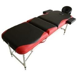 Marquesa de Massagem Alumínio Dobrável 185 x 60 cm Tatuagem Terapia Cama Preto Vermelho