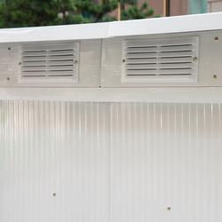 Outsunny Abrigo - Barracão de jardim tipo galpão de metal para armazenamento de ferramentas 277x130x173cm Aço verde