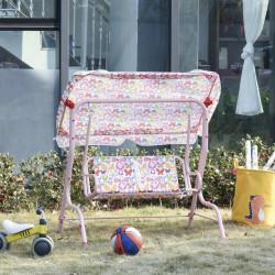 Outsunny Balanço de jardim para crianças acima de 3 anos de 2 lugares com toldo ajustável em ângulo e cintos de segurança ao ar livre 110x70x110 cm Rosa