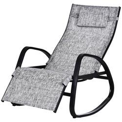 Outsunny Cadeira de balanço ao ar livre com encosto e apoio para pés Ajustável em cinza