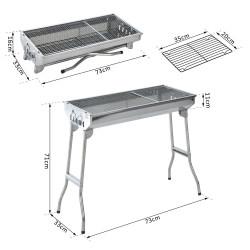 Outsunny Churrasqueira portátil e dobrável de aço inoxidável com grelha a carvão e desenho de ventilação 73x33x71 cm prata