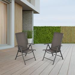 Outsunny Conjunto de 2 cadeiras dobráveis de vime para jardim com encosto alto e ajustável 7 posições para terraço 57x67.5x104 cm Cinza