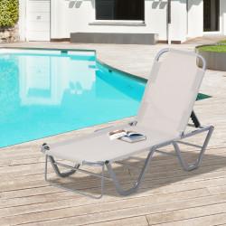 Outsunny Espreguiçadeira de jardim com encosto ajustável de 5 posições em alumínio e textilene para terraço externo 163x58,5x91 cm bege