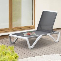 Outsunny Espreguiçadeira de jardim reclinável com rodas e encosto ajustável em 5 níveis de alumínio para varanda 170x67.5x95 cm Branco cinza