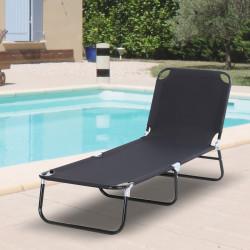 Outsunny Espreguiçadeira dobrável reclinável com ângulo ajustável de 3 posições para exterior carga 120 kg 190x56x28 cm Preto