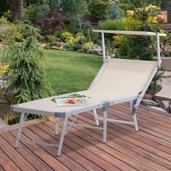 Outsunny Espreguiçadeira reclinável e dobrável com toldo 169x72x55 / 72cm Bege