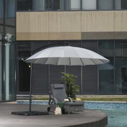 Outsunny Guarda-sol Ø300 cm de jardim com manivela manual 18 hastes e telhado com base cruzada de ângulo ajustável cinza
