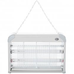 Outsunny Lâmpada elétrica anti-mosquito Luz ultravioleta 20W com 2 tubos LED Área de ação 60m² 39x7.5x26.5 cm Branco