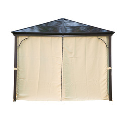 Outsunny tenda de Jardim tipo gazebo com Pára-ventos e Rede mosquiteira- Cor: Café e Creme- Alumínio, Policarbonato e Poliéster- 3 x 3 m