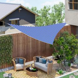 Outsunny Toldo de vela de sombra triangular 5x5x5 m HDPE Proteção UV com anéis e cordas para jardim pátio piscina terraço Azul e Branco