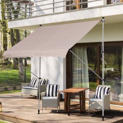 Outsunny Toldo manual retrátil 200x150x170-280 cm com manivela para terraço varanda jardim pátio bege