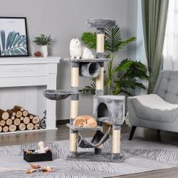 PawHut Árvore arranhador para gatos 154 cm de altura com plataformas túnel rede e postes de de sisal cinza