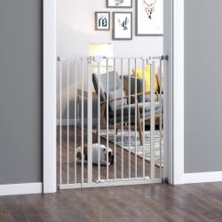 PawHut Barreira de Segurança para Portas e Escadas Barreira para Animais de Estimação com Fechadura Automática Extensível 17,5cm Metal 92-102x104,1cm Branco