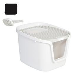 PawHut Caixa de areia para gatos com duas portas grande espaço 55,5 x 44,5 x 38,3 cm cinza branco