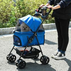 PawHut Carrinho dobrável para animais de estimação desmontável para cães de aço Oxford rodas giratórias freios janela 67x45x96 cm azul
