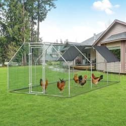 PawHut Galinheiro ao ar livre Gaiola para aves domésticas de metal galvanizado com fechadura e cobertura Oxford 280x570x195cm