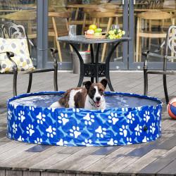PawHut Piscina dobrável para cães diâmetro Ø140 cm Banheira portátil para animais de estimação em PVC com fundo antiderrapante para interior e exterior azul