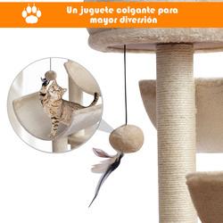 PawHut Raspador para Gatos Grande raspador Centro de atividades Plataformas Tubo de jogo Jogo Bola 50x40x105cm Sisal Natural