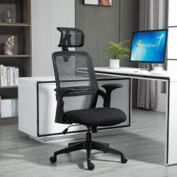 Vinsetto Cadeira de Escritório Ergonômica Giratória com Altura Ajustável Apoio para a Cabeça Suporte Lombar Reguláveis e Encosto Transpirável 63,5x64,5x113-122cm Preto
