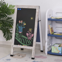 Vinsetto Painel publicitario Magnético Dobrável com Dupla Face cavalete de Madeira com Apagador 2 Imás e 5 Gizes 51x58x98,5cm Preto e Madeira
