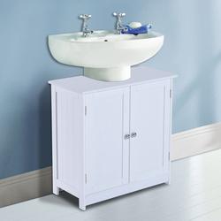 Armário para Casa de Banho – Cor: branco - Madeira – 60 x 30 x 60 cm móveis lavatório, móvel lavatório, móveis lavatório, móveis para lavatórios, armários para casa de banho, armário sob o lavatório, móveis para casa de banho, comprar móveis casa de banho
