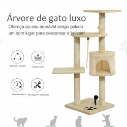 Arranhador Gato 112 cm De Altura Árvore Poste para Arranhar Centro Diversão Gatos NOVO