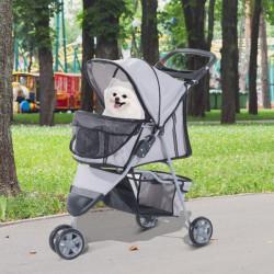 Carrinho Dobrável Animais de Estimação 75x45x97 cm Cão Gato Carrinho Rodas Giram 360º Cinzento