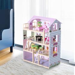 Casinha de Bonecas para Brincar - Cor-de-Rosa e Branco - Madeira - 60 x 30 x 80 cm
