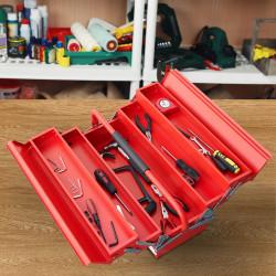 DURHAND Caixa de Ferramentas de Aço Dobrável Portátil com 5 compartimentos com Alça de Transporte para Oficina Bricolagem 57x21x41cm Vermelho